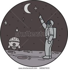Mono line style illustration of an astronaut in outer space pointing up to the stars and moon with shuttle in the background set inside circle.  #astronaut #monoline #illustration
