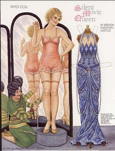 Silent Movie Queen Antique paper dolls and paper toys to make - Joyce hamillrawcliffe - Picasa Web Albums Vintage Paper Dolls, Vintage Toys, Paper People, Paper Dolls Printable, Paper Fashion, Vintage Stil, Roaring 20s, Paper Toys, Doll Toys