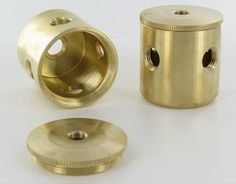 (2)1/4F sides X 1/4F bottom X 1/8F top LARGE  MODERN TURNED CLUSTER BODY. 2-PIECE, UNFINISHED BRASS.