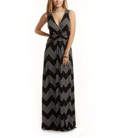 TART Collections Black & White Zigzag Mikonos Maxi Dress | zulily