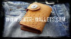 """Big Bird"" 5"" Custom Handmade Ostrich Skin and Leather Biker Wallet"