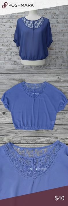 """Kimchi Blue Shirt In like-new condition! A pretty, sheer, periwinkle top!  100% polyester Shoulder to hem is 21.5"""" Love the item but not the price? Please make an offer! Thanks for looking!  Sorry, no trades or modeling! Kimchi Blue Tops"""
