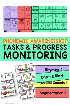 An All-in-One Kit for Phonemic Awareness featuring colorful practice pictures cards for each skill, progress monitoring recording pages, and assessment pages to track student growth. Segmentation, Rhyming, Syllables, Initial Sounds, Initial and Final Sounds, Medial Sounds, Letter Sound-Association, and more!