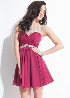 Rachel Allan 6635 Short Jeweled Chiffon Dress