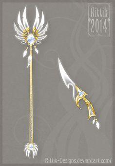Celestial staff and dagger by Rittik-Designs on deviantART