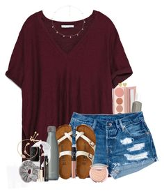 A fashion look from February 2018 featuring slit tops, vintage jean shorts and american eagle outfitters shoes. Browse and shop related looks. Cute Comfy Outfits, Simple Outfits, Casual Outfits, Fashion Outfits, Teen Fashion, Fashion Trends, Spring Summer Fashion, Spring Outfits, Outfit Goals
