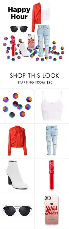 """""""Color Poppin' Happy Hour"""" by anotherplanet ❤ liked on Polyvore featuring Umbra, BasicGrey, Rick Owens, H&M, Steve Madden, Lime Crime and Casetify"""
