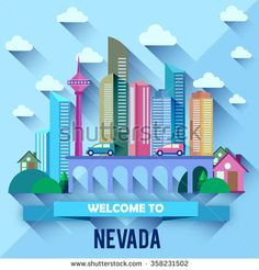 Nevada - Flat design city vector illustration - stock vector