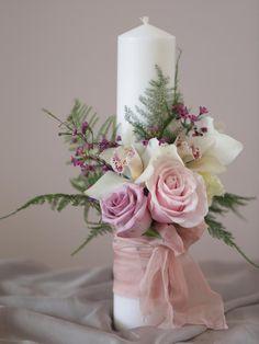 Baptism Decorations, Ribbon Decorations, Rustic Wedding Dresses, Wedding Flowers, Baptism Candle, Rose Arrangements, Star Wedding, Candle Set, Girl Shower