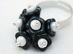 Flower ring  Black Flowers czech glass adjustable by LunaDiArgento, €14.00