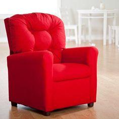 Brazil Furniture 4-Button Back Child Recliner Cotton Rodeo Chilli - 400-COTTON-RODEO CHILLI
