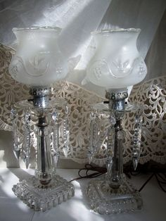 Pair Old Crystal Budoir Lamps 14.5 inch tall Ornate Glass Prisms and Frosted Grape Shades Ladies Bedroom Table Lamps. $75.00, via Etsy.