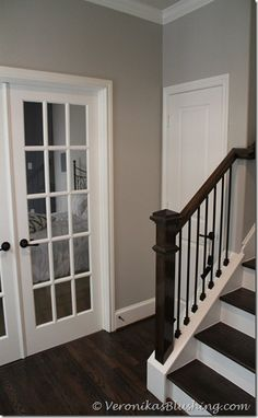 Benjamin Moores Revere Pewter...I will have these colors! So pretty....white trim, dark wood floors, bm revere pewter paint. Oh my...I'm in love.