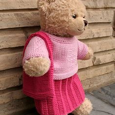 Ravelry: Teddy Lady - Tote bag pattern by Knitca Sewing Doll Clothes, Sewing Dolls, Doll Clothes Patterns, Pet Clothes, Barbie Clothes, Baby Knitting Patterns, Bear Patterns, Knitting Ideas, Crochet Patterns