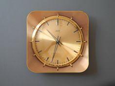 Very beautiful rare Mid Century Atlanta heavy brass wall clock