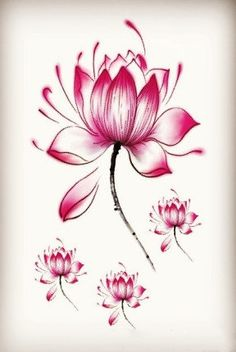 Red or Black lotus flower temporary tattoos by Coolfashion4u