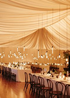 Romantic 1920s-Era Garden Party Wedding. #Wedding Details #Reception #Decor #Lights.  Maybe a good way to hide the heaters on the ceiling?