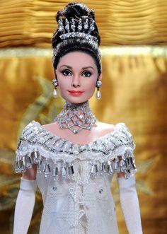 OOAK Mattel BAT Barbie doll repaint as Audrey Hepburn Eliza Doolittle by Noel Cruz