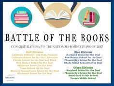 """""""Between January 9th and 18th, 32 teams met with Gallaudet University judges to vie for their spot in the national competition. After an incredible two weeks of playoffs, we are elated to announce the 2017 Nationals-bound teams for the Battle of the Books!"""" -Youth Programs"""