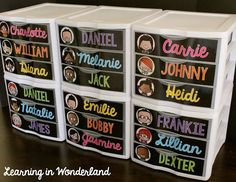 Use Sterillite bins to create student mailboxes