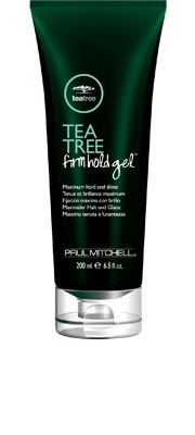 Tea Tree Firm Hold Gel®  Maximum Hold and Shine    Clean, flake-free gel gives maximum control. Helps thicken, build body and lock your style in place. Refreshing fragrance stirs the senses.  Styling ingredients help your style stay put.  A burst of cool mint, tea tree and citrus refreshes and revives.  Versatile formula can be applied to wet or dry hair.