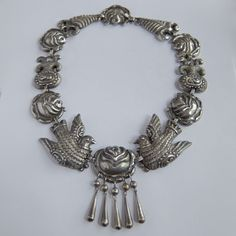 RARE Vintage Matl Mexico Sterling Silver Repousse Flower Dove Paloma Necklace   eBay