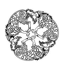Celtic Wolf  triskele by Dawbun.deviantart.com