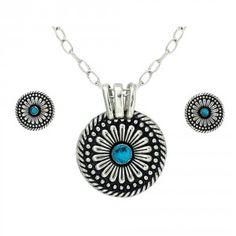 Desert Mesa Flower Princess Pendant Jewelry Set (JS1288TQ)