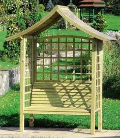 Ideal for climbing plants Japanease style garden arbor by ZEST, http://www.amazon.co.uk/dp/B00BPQJ59A/ref=cm_sw_r_pi_dp_OAZTrb0V7C173  This Wooden Garden bench with roof and trellis is of a very high quality and will be perfect as a garden seat, and will with stand all weather.Will look great in any size garden, the attached trellis can also be used to grow climber plants. Sold on Amazon by Best4Garden.