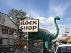 American Land Art Tour, September 2012. Rock Shops (Petrified Tree Rocks) and dinosaurs on the way to Flagstaff, Arizona, U.S.
