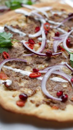 Our take on the awesome lamb Lahmacun Onion Recipes, Lamb Recipes, Greek Recipes, Indian Food Recipes, Snack Recipes, Cooking Recipes, Ethnic Recipes, Healthy Recipes, Cumin Lamb