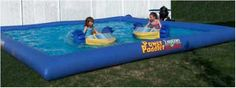 Backyard pool with slide for kids | backyard water park with paddle boats for children's party