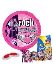 Rocker Girl Pinata Kit by COSTUME SUPERCENTER. $21.83. Guests will feel like rock stars when they take shots at this festive pinata! The Rocker Girl Pinata Kit is an entertaining party accessory that includes a pinata, blindfold, and 3 lbs of candy filler. This hot pink, round shaped, pinata features decorative music theme artwork on the front. Beautiful stars, flowers, guitar, heart, and peace sign details are printed on the front of this striking design. Use this pinata for f...