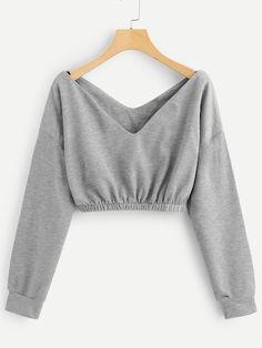 Shop V Neck Crop Sweatshirt online. SheIn offers V Neck Crop Sweatshirt & more to fit your fashionable needs. Shop V Neck Crop Sweatshirt online. SheIn offers V Neck Crop Sweatshirt & more to fit your fashionable needs. Crop Top Outfits, Cute Casual Outfits, Stylish Outfits, Girls Fashion Clothes, Teen Fashion Outfits, Girl Outfits, Fashion Dresses, Womens Fashion, Fashion Top