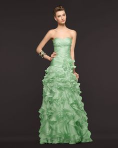 Cheap Charming Sheath/Column Sweetheart Cascading Ruffles Floor-length Organza Prom Dresses From Highly Praised Online Shop