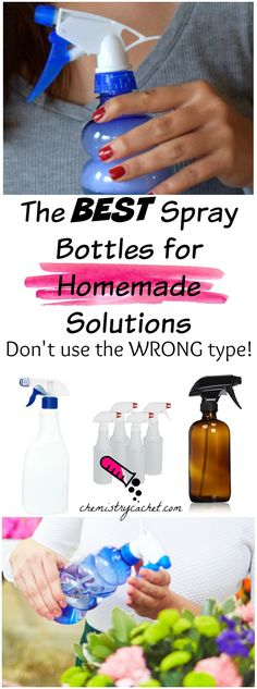 These are the best spray bottles for homemade solutions! You might be using the wrong type, so stop by this post for the top spray bottles by category! Homemade Cleaning Supplies, Cleaning Recipes, Cleaning Hacks, Cleaning Caddy, Homemade Products, Green Cleaning, Organizing Tips, Glass Spray Bottle, Diy Bottle