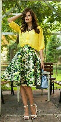 a496970f033 green printed skirt and yellow shirt Tb Dress