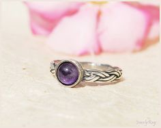 amethyst ring. silver braided ring. CHRISTMAS GIFT. by JewelyRay, $57.00
