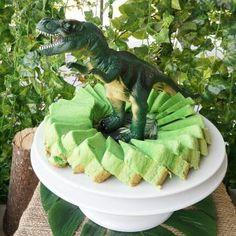 Do-it-yourself party decoration for a Dino party for children's birthday party - Geburtstag - kuchen kindergeburtstag Dinosaur Cake, Dinosaur Birthday Party, Birthday Parties, Birthday Ideas, Birthday Gifts, Homemade Birthday Cakes, Homemade Cakes, Pandan Chiffon Cake, Present Cake