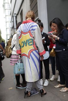 Prints in street style. Milan Fashion Week Spring 2015. [Photo by Kuba Dabrowski]