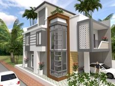 Narrow Lot Two Storey House Plan with 4 Bedrooms - Cool House Concepts Modern House Floor Plans, Bungalow House Plans, Bedroom House Plans, Double Storey House Plans, One Storey House, Minimalist House Design, Minimalist Home, Rest House, Tiny House