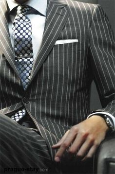 Penstripe suit and tie bar Fly Young Gentleman -FYG Style Gentleman, Gentleman Mode, Gq Style, Looks Style, Style Blog, Mens Fashion Blog, Suit Fashion, Sharp Dressed Man, Well Dressed Men
