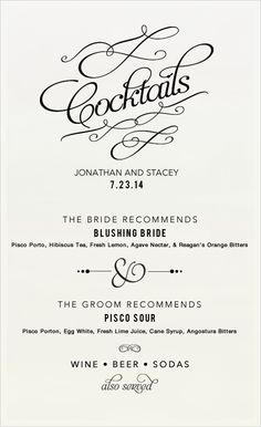 Cocktail Recipes For Signature Wedding Drinks (Wedding Chicks) Lazaro Wedding Dress, Cute Wedding Dress, Fall Wedding Dresses, Colored Wedding Dresses, Wedding Signature Drinks, Signature Cocktail, Wedding Events, Our Wedding, Dream Wedding