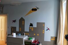 Superhero Bedroom. City Skyline with superheros. Easy to paint - instructions as to how to cheat
