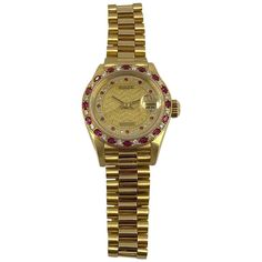 Rolex 18K Yellow Gold Diamond & Ruby Datejust Wristwatch    From a unique collection of vintage wrist watches at https://www.1stdibs.com/jewelry/watches/wrist-watches/
