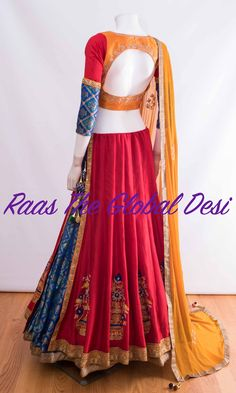 Silk Chania with designer brocade blouse and contrast dupatta Garba Dress, Navratri Dress, Lehnga Dress, Half Saree Lehenga, Indian Lehenga, Lehenga Designs, Saree Blouse Designs, Choli Designs, Hair Designs