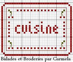 Etiquette cuisine kitchen cross stitch point de croix
