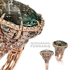 Gorgeous colors and exquisite decoration. Cocktail ring from Anastasia collection in pink gold, diamonds, green sapphires and green amethyst. Visit #GiovanniFerraris booth @Koohejij Jewellery Hall one stand 339 #JewelleryArabia2015 #jewellery #diamond  #saudi #bahrain #dubai