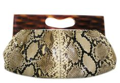 beautiful vintage python clutch with lucite handleeee