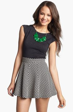 Lily White Textured High Waist Skater Skirt (Juniors) (Online Only) available at #Nordstrom want it!